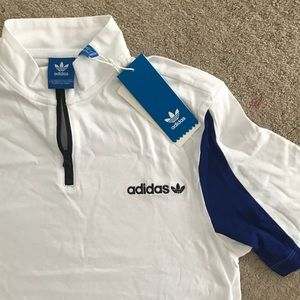 White Adidas Original Zip-Up Collared Tee